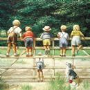 "BIRTHDAY CARD ""CHILDREN ON FIELD GATE"" LARGE SQUARE SIZE 6.25"" x 6.25"" BLHI 1014"